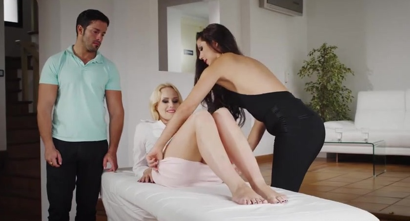Young escort gives couple tutorial on how to fuck&excl